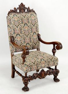 A Jacobean Style Carved Walnut Throne Chair. : Lot 152-1078