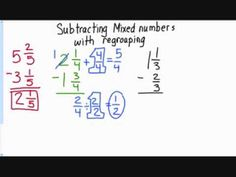 Subtracting Mixed Numbers with Regrouping subtracting mixed fractions w/ regrouping video! Number Anchor Charts, Fifth Grade Math, Math Fractions, Multiplication Practice, Homeschool Math, Math Classroom, Classroom Ideas, Elementary Math, Math Resources