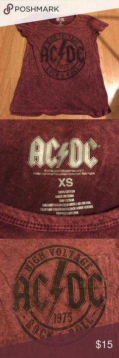 AC/DC Tee Gently used, in good condition. Burgundy tie-dye. Has pocket. Tops Tees - Short Sleeve