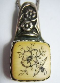 #Vintage Ivory Hummingbird Scrimshaw Sterling #Necklace