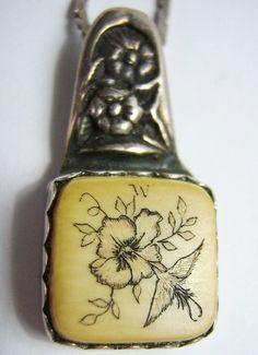 #Vintage Ivory Hummingbird Scrimshaw Sterling #Necklace