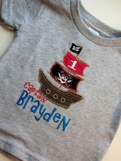 Gray Short  Sleeve Pirate Ship  Embroidered Applique by GingezShop, $24.95