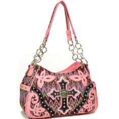 Womens Chevron Embroidery Handbag Purse Faux Leather Flower Shape Trim Peach. Free Shipping.