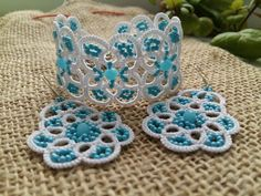 SALE Tatting lace bracelet and earrings jewelry sets for