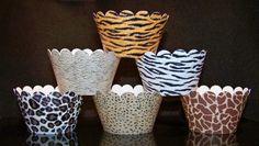 Set of 12 Safari Animal Prints CW803 CupCake by BlingForU2 on Etsy, $7.50
