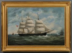 William Gay York[e] (New York/England, 1817-1892) Portrait of the American Ship WESTON MERRITT Off Liverpool. Skinner