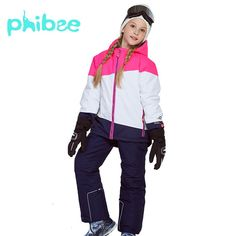 Phibee Winter Suit For Girl Kids Clothes Ski Suit Warm Waterproof Windproof  Snowboard Sets Winter Jacket Children Clothing. 95063e705