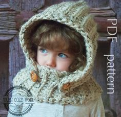 CROCHET PATTERN Hooded Cowl For babytoddler by WARMcosyWOOLeu