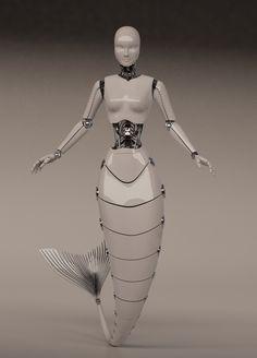 Robotic Mermaid - YUCHIA Fantasy Mermaids, Mermaids And Mermen, Sirens, Female Cyborg, Mermaid Diy, The Future Is Now, Merfolk, Sea Monsters, Sea Creatures