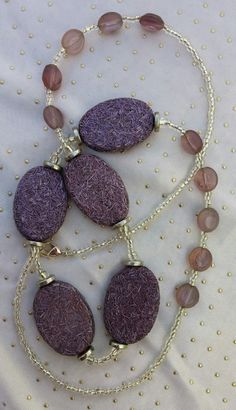 Purple Necklace, Hand Beaded Purple Necklace with Czech Glass Beads by RivieBoutique on Etsy