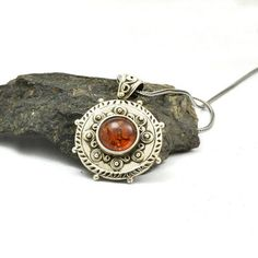 Silver amber pendant sterling silver amber stone necklace