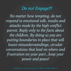 Coparenting with a high conflict person