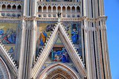 Orvieto Duomo_ Above Right Hand Portal  Center Mosaic: Birth of the Virgin (Nativity of Mary) - Left Mosaic: Saint Joachim - Right Mosaic: Saint Anne.