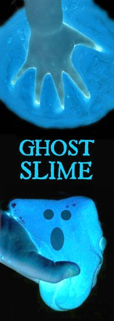 GOOEY GHOST SLIME FOR KIDS - so fun!! (it glows!) #slimerecipe #slime #hlowtomakeslime #slimeforkids #playrecipes #playrecipesforkids #ghostslime #ghostcraftsforkids #ghostactivitiesforkids #halloweencraftsforkids #halloweenactivitiesforkids #artsandcraftsforkids
