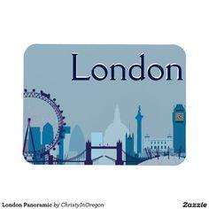 London Panoramic Rectangular Photo Magnet