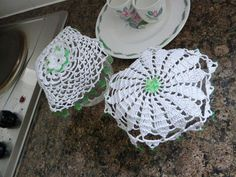 Two White Lace Jug Covers with Green Beads by Aimezvousclassique, £10.80