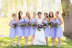 Spring wedding bridesmaid dress idea - short, light purple bridesmaid dresses with mix and match necklines by @donnamorgannyc {Anne Lee Photography}