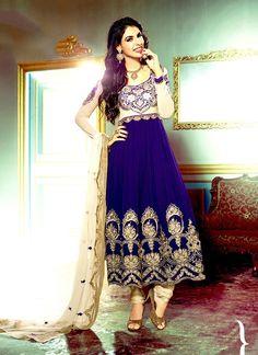 Sizzling Blue Georgette Anarkali Suit