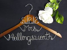 Love this!     Wedding dress hanger personalized bridal hanger by TrendyTrappings, $25.00