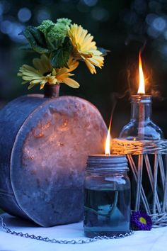 DIY Mason Jar Oil Lamp  MATERIALS NEEDED:    * 1 mason jar with metal lid.    * 1 nail, drill, or just something to puncture the top of the lid to create a small hole for the wick.    * 1 bottle of olive oil or indoor non-toxic burning oil.    * 1 strip of 100% cotton material to be used as a wick (an old sock, perhaps).