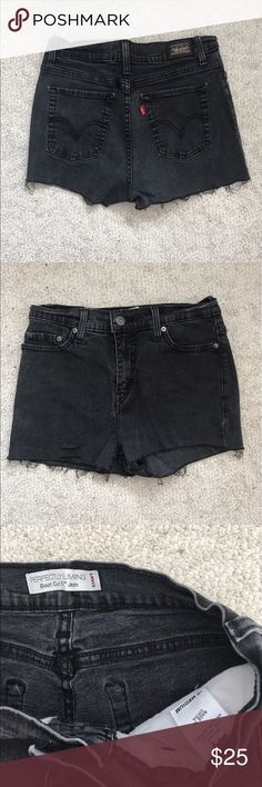 Levis high waisted shorts Levis high waisted shorts. Distressed as shown in pictures. Im sure if you wash it more, it will give a better distressed look to it. It says its size 10 medium, but I think its because its vintage? It fits like a 24-25. This pants is very stretchy and fits nicely. Urban outfitters for exposure, but they do sell these. Urban Outfitters Shorts Jean Shorts