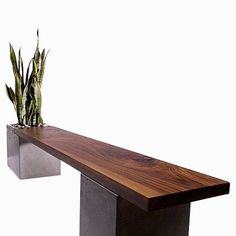 Custom Made Modern Concrete And Wood Planter Bench