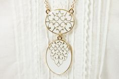 Long Necklace  White color  Two Enameled Pendant by MoloRoseGarden, $17.00