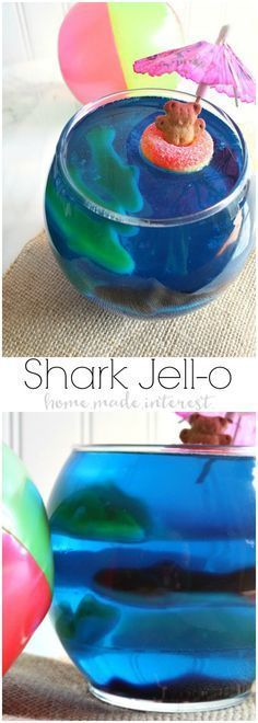 Get ready for Shark Week or celebrate a Shark birthday party with these fun Shar. Get ready for Shark Week or celebrate a Shark birthday party with these fun Shark Jell-O bowls fill Dessert Party, Snacks Für Party, Party Recipes, Kid Party Drinks, Beach Themed Snacks, Luau Snacks, Candy Drinks, Picnic Recipes, Dessert Tables