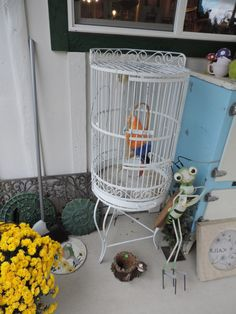 Vintage wrought iron birdcage on stand. by RedRoosterQuiltshop, $115.00