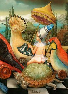 """""""Les oiselières (détail)"""" par Agnès Boulloche Weird Art, Strange Art, Popular Artists, World Of Fantasy, Tropical Design, Fantasy Kunst, Pop Surrealism, Fantastic Art, Whimsical Art"""
