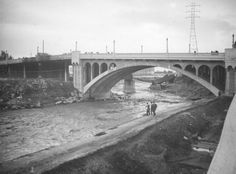 The Los Angeles River Before It Was Paved in 1938. The Dayton Avenue Bridge, Ca. 1938.