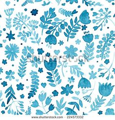 vector watercolor seamless pattern, floral texture with hand drawn flowers and plants. Floral ornament. Original floral background.