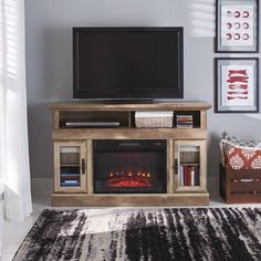 Better Homes & Gardens Crossmill Fireplace Media Console Weathered Finish Image 2 of 3