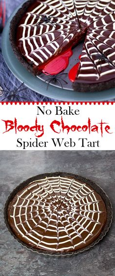 Easy No Bake Bloody Chocolate Spider Web Tart