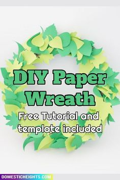 easy diy decor, paper craft projects, wreath making How To Make Paper Flowers, Paper Flowers Diy, How To Make Wreaths, Felt Flowers, Diy Paper, Wreath Making, Diy Wreath, Tissue Paper Wreaths, Leaf Cutout