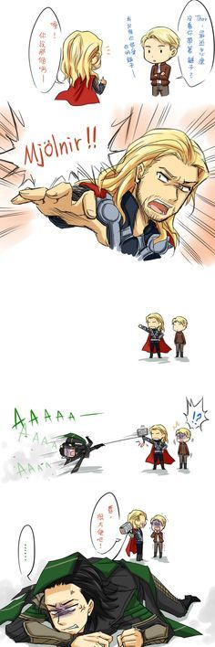 Hammer (Translation: Cap: Thor, how come I haven't seen you carry your hammer lately? (I remember you love that hammer) Thor:Ah! You mean that!-MJOLNIR!- Loki:aaaaaAAAAAAAAHHHHHHH! Thor: See! Pretty convenient,right!)