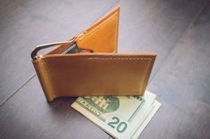 Custom Money Clip Wallet Leather. Card Wallet. Father's Day. Handmade personalized gift for your Husband, Boyfriend, Father, Groomsman.