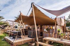 10m x 8m Sand Bedouin Stretch Tent - Festival Set Up #festival #bedouin #stretch #tent #marquee #shelter #shade #wedding #engagement #party #festival