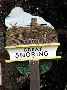 Great Snoring Village sign in Norfolk, England