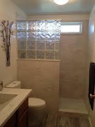 31 Ideas Doorless Shower Remodel Walk In For 2019 Shower Remodel, Bath Remodel, Glass Block Shower, Bathroom Design Small, Bath Design, Small Bathrooms, Small Baths, Narrow Bathroom, Bathroom Designs