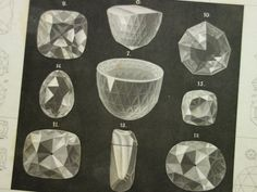 144 year old mineral print about diamonds and diamond cutting  antique German by DecorativePrints