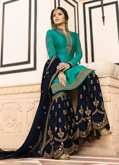 Blue Punjabi Sharara Suit for Wedding. Blue Punjabi Sharara Suit full sleeve and Chinese collar for indian wedding Pakistani Gharara, Pakistani Dress Design, Pakistani Dresses, Eid Dresses, Flapper Dresses, Quinceanera Dresses, Bridal Dresses, Gharara Designs, Kurti Designs Party Wear