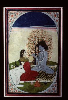 Siva and Parvati. Kangra style, 1815, Chamba Museum, Himachal Pradesh, India