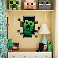 MINECRAFT VINYL DECAL WALL CLING MINING 2-PACK + CREATURES 4-PACK GRAPHIC BUNDLE