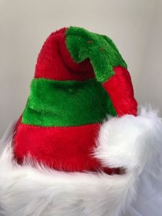 f108123dd92b3b Santa Hat elf Stripes Plush Size S/M Children to Teens Holiday Party Cap #