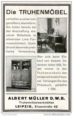 Original-Werbung/ Anzeige 1928 - TRUHENMÖBEL / ALBERT MÜLLER LEIPZIG -  ca. 70 x 110 mm