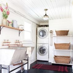 """""""We'd be a little more excited about laundry day if our space looked as lovely as this! #thecottagejournal : @vintagewhites"""""""