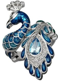 Lord & Taylor Blue and White Topaz Sterling Silver Peacock Ring #SterlingSilverPaint