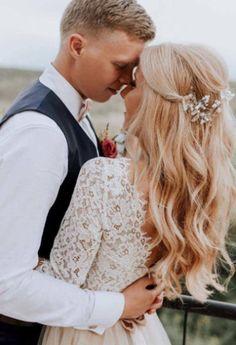 Beige Wedding Dress, Open Back Wedding Dress, Boho Wedding Hair, Wedding Hair Down, Wedding Hair And Makeup, Perfect Wedding Dress, Tulle Wedding, Bridal Hair, Dream Wedding