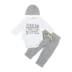 1f848035d54e Mandystore 3Pcs Set Baby Outfits Newborn Boys Letter Rompers Jumpsuit Tops  Pants Clothes (0-6 Months